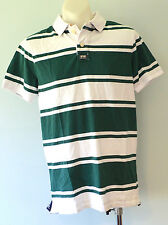 Superdry Mens Polo T - Shirt - GREEN & WHITE STRIPE - SIZE - LARGE  - NEW