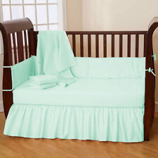 3 Pc Unisex Baby Cradle Bedding set Fitted Comforter Bumper Solid Pattern