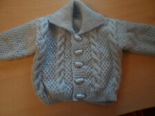 Hand knitted baby boy cable cardigan 0-3 to 6-12 months blue, white, lemon