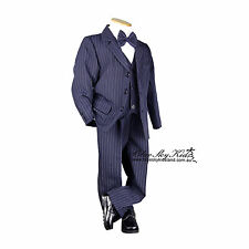 Boys Kids Navy Pinstripe Suit set PageBoy Wedding Formal Suit 5pcs Size 000-16