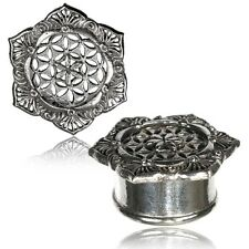 PAIR ANTIQUED FILIGREE FLOWER OF LIFE WHITE BRASS TUNNELS PLUGS TRIBAL GAUGES