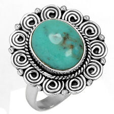 Solid 925 Sterling Silver Collectible Ring Natural Turquoise Size 9 hb10663