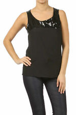 S M L Sleeveless Loose Fit Tank Top Black Sequin Sparkling Scoop Neck Blouse