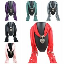 Scarf Womens Heart-Shaped Pendant Tassel Scarfs Charms Scarves Shawl Wraps Stole