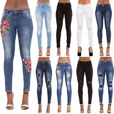 New Womens Ladies Ripped Skinny Jeans Slim Fit Denim Pants Size 6 8 10 12 14 16