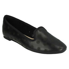 CHIA MOON LADIES CLARKS SLIP ON CUT OUT FLAT LEATHER SMART PUMPS CASUAL SHOES