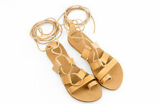 Ancient Greek Women Natural Leather Handmade Lace up Sandals