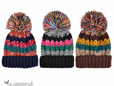 Mens Womens Ladies Winter Cable Knit Beanie Chunky Warm Woolly Bobble Ski Hat