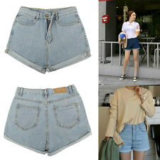 Vintage Lady Girl Hot Denim High Waist Turned Finish Jean Shorts Pants