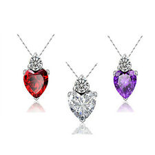 Gift Clavicle Necklace Silver Plated Necklace Pendant Crystal Love Heart