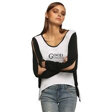 Sexy Women Long Sleeve Patchwork Asymmetric Hem Back Cut Out Blouse Tops TXGT