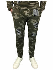 Mens King Kouture Camo Badges Slim Fit Joggers in Khaki Camouflage Large