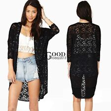 Womens Sheer Floral Lace Crochet Loose Long T-Shirt Tops Blouse Cardigan TXGT