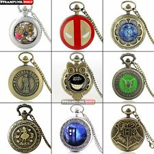 Antique Steampunk Classic Pocket Watches Retro Quartz Necklace Chain Pendant Lot