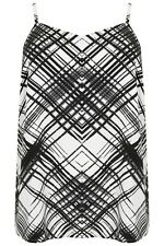 Plus Size Black & White Cross Hatch Print Cami Top