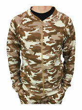King Kouture Mens Skinny Fit Camo Bomber Zip Jacket in Stone Size Small