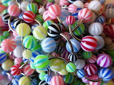 5 Candy Stripe Belly Navel Bar 14g (1.6mm) 10mm No repeats Same day dispatch