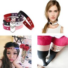 Women Funky Ring Punk Goth Collar Choker Leather Necklace Heart