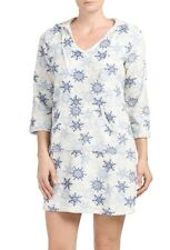 NWT NAUTICA Women's Plush Lounger Nightshirt Sleepwear size M/L ivory/grey/blue