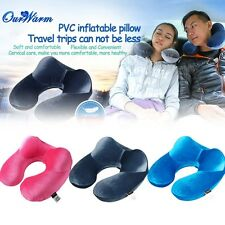 Velvet Fabric Inflatable Neck Air Pillow U-shaped Cushion Outdoor Travel Portabl