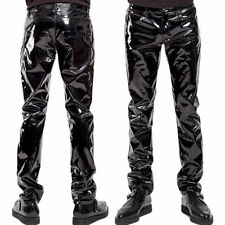 GOTHIC PUNK ROCKER EMO PVC GOTH SHINY VINYL PANTS MENS SLIM FIT PANTS BIKER