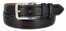 "Lejon Genuine Leather Stitched Dress Belt 1-1/4"" Wide Black Brown Metal Buckle"