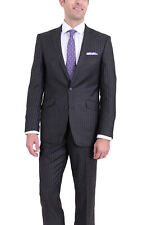 Raphael Slim Fit Charcoal Flannel Pinstriped Two Button Wool Suit