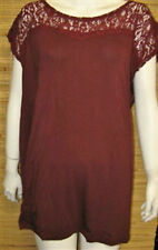 AnyWear by Catherines Burgundy Lace Cap Sleeve Top Travel Tee 1X 2X 3X 4X 5X New