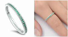 Sterling Silver 925 STACKABLE ETERNITY EMERALD CZ BAND RING 2MM SIZES 4-10