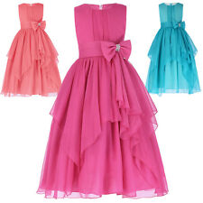New Kids Bow Knot Beaded Formal Dress Wedding Flower Girls Pageant Party Dresses