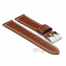 StrapsCo Genuine Leather Premium Padded Leather Watch Band Strap Light Brown