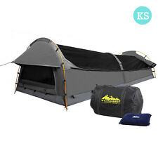 King Single Lightweight Camping Canvas Swag Tent Deluxe Aluminium Poles & Bag