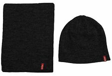 MENS LEVIS RED TAB 2 PIECE BEANY HAT & SCARF SET - CHARCOAL SET
