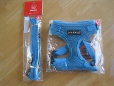 PUPPIA Rite-Fit Soft Adjustable Dog Harness Mesh Sky Blue Small with Free Leash