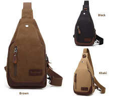 New Fashion Mens Canvas Shoulder Sling Chest Bag Casual Backpack Outdoor Daypack