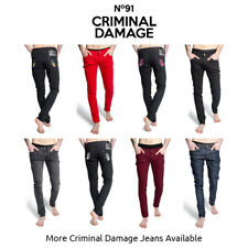 Criminal Damage Mens Skinny Fit Jeans Slim Coloured Trousers Stretch Skinnies