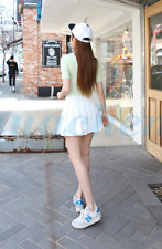 Women Lady High Waist Plain Skater Flared Pleated Mini Short Skirt Shorts