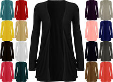 LADIES LONG SLEEVE WOMENS BOYFRIEND CARDIGAN  WITH POCKETS PLUS SIZE 8-26