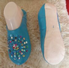 MOROCCAN LEATHER TURQUOISE SLIPPERS * MULTI COLOUR SEQUINS 2 SIZES