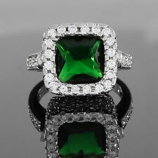 Turkish Handmade Cushion Green Emerald 925 Solid Sterling Silver Ring Size 7-8