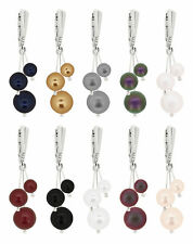 Sterling Silver Earrings Safety Hooks with SWAROVSKI 5810 Round Pearls Crystals