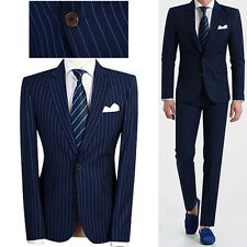 2BT Blue Striped Dress Formal Business Casual Men s Slim Fit Wedding Prom Suits
