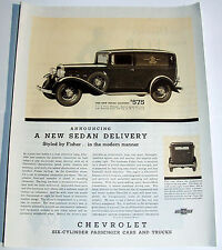 Vintage Print ad 1930 Chevrolet Sedan Delivery truck