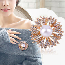 Alloy with Faux Pearl and Rhinestone Inlaid Brooch Flower Bouquet Brooch Pin SM