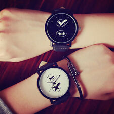 YES and NO Unisex Womens Mens Quartz Wrist Watch Fashion Couple Wristwatches New