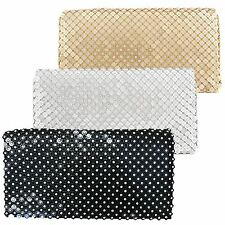 New Crystal Diamante Metal Beaded Clutch Hand Sholder Bag Wedding Prom Evening