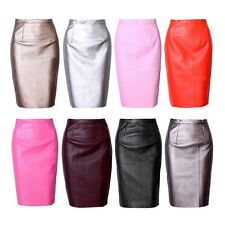 Vogue Womens Sexy PU Leather Pencil Dress Bodycon High Waist OL Midi Party Skirt