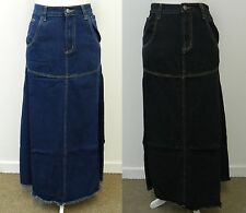 DENIM LONG MAXI SKIRT BLACK BLUE FULL LENGTH JEANS UK SIZE 10 12 14 16 18 20 22