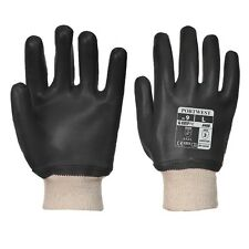 Portwest A400 BLACK PVC Knitwrist Glove / Knitted Wrist Gloves / Waterproof