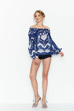 NEW ALICE MCCALL MY SWEET LORD BLOUSE COBALT BLOOM